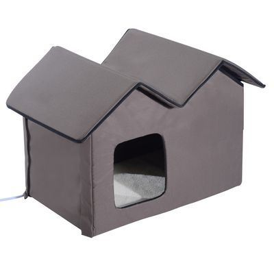 PawHut Winter Indoor Heated Double Wide Outdoor Cat Shelter House Bed Small Animal Playpen Crate Kennel - Brown