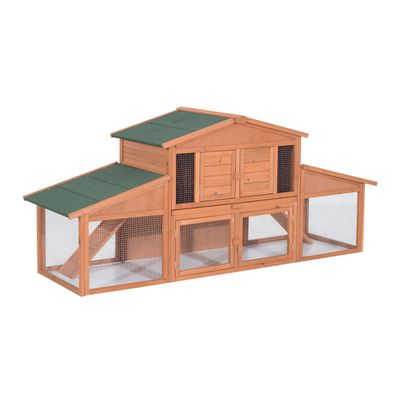 """PawHut 90"""" 2 Tier Weatherproof A-Frame Wooden Outdoor Rabbit Cage Shelter with Covered Run"""