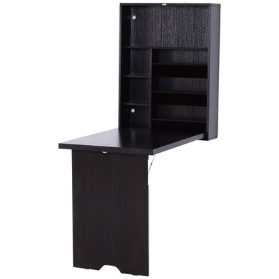 HomCom Wooden Fold Out Convertible Wall Mount Desk - Espresso Brown
