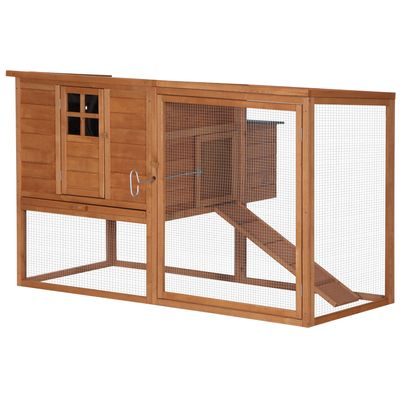 """PawHut 64"""" Large Wooden Chicken Coop Kit with Outdoor Run and Nesting Box"""
