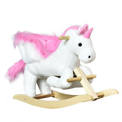 Qaba Kids Wooden Plush Ride-On Unicorn Rocking Horse Toy with Sing Along Songs