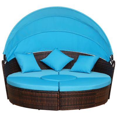 5 Piece Cushioned Outdoor Rattan Blue
