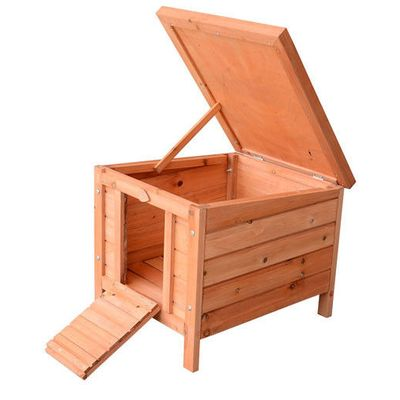 """PawHut 20"""" Wooden Outdoor Cat Shelter Rabbit Playpen with Adjustable Hinged Roof"""