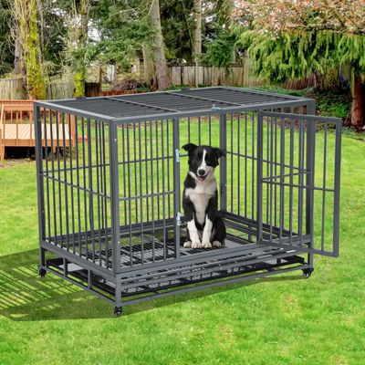 """PawHut 42"""" Stainless Steel Elevated Indestructible Large Dog Kennel Rolling Pet Crate With Dual Pans and Wheels"""