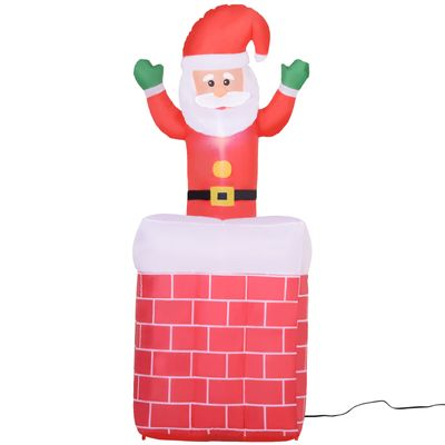 HomCom 6' Tall Outdoor Animated Airblown Inflatable Christmas Lawn Decoration - Santa in a Chimney
