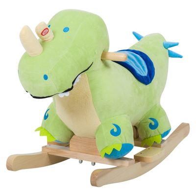 Qaba Kids Plush Ride-On Rocking Horse Toy Dinosaur Ride on Rocker - Green with Realistic Sounds