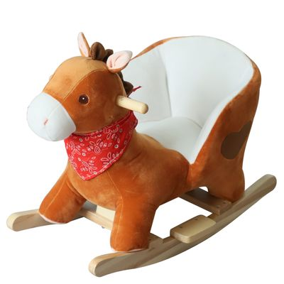 Qaba Plush Kids Sturdy Ride On Rocking Horse with Song