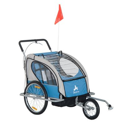 Aosom Outdoor Elite 2-In-1 Double Child Two-Wheel Bicycle Trailer Cart Cargo Stroller / Runner and Jogger with 2 Safety Harnesses - Blue