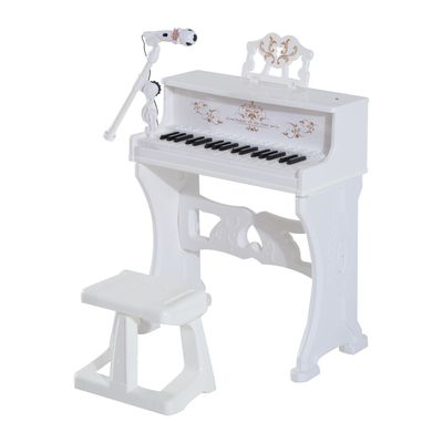 Qaba 32 Key Princess Electronic Kids Keyboard with Stool and Microphone - White