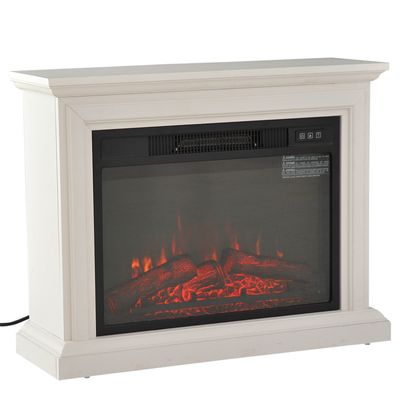 """HomCom 31"""" 1400W Freestanding Portable 3D LED Electric Fireplace Mantel Heater Stove - White"""