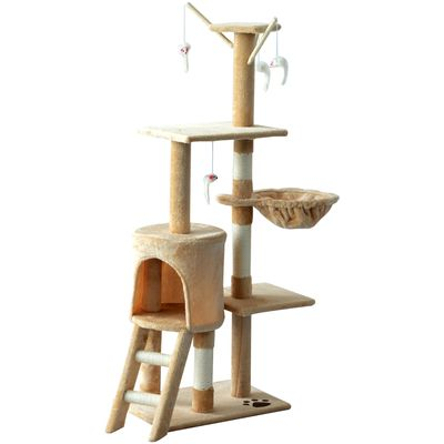 """PawHut 52"""" Plush Sturdy Interactive Cat Condo Tower Scratching Post Activity Tree House - Beige"""