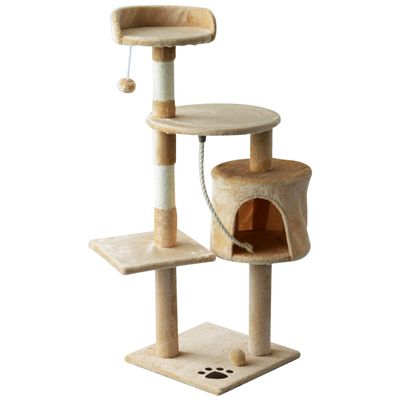 "PawHut 45"" Plush Sturdy Interactive Cat Condo Tower Scratching Post Activity Tree House - Beige / White"