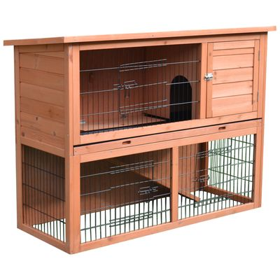 """PawHut 48"""" Multi Level Compact Wooden Playpen Outdoor Rabbit Small Animal Pet Cage with Enclosed Run"""