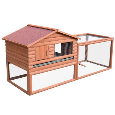 """PawHut 62"""" Large Outdoor Log Cabin Rabbit Cage Small Animal Hutch with Run and Ramp"""