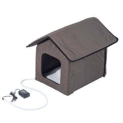 PawHut Small Indoor Portable Water Resistant Heated Outdoor Cat House for Multiple Cats - Brown