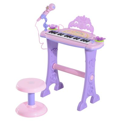 Qaba 32 Key Electronic Kids Keyboard with Stool and Microphone - Pink / Purple