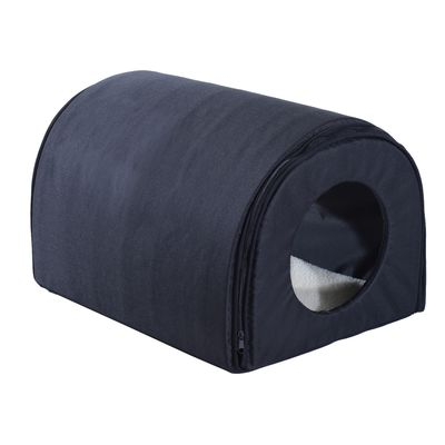 PawHut Winter Portable Heated Double Wide Water-Resistant Indoor Outdoor cat houses for multiple cats - Black