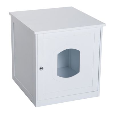 PawHut Decorative Wooden Covered Cat House Side Table Mess Free Cat Pet Crate Litter Box End Table Hideaway Cabinet  Enclosure - White