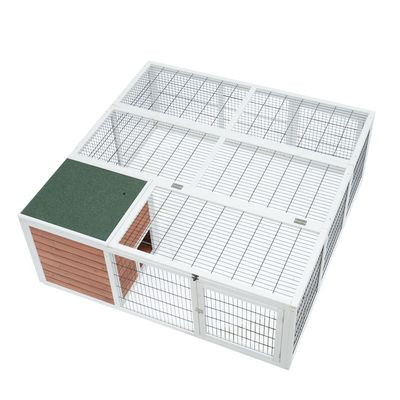 """PawHut 64"""" Wooden Outdoor Rabbit Hutch Playpen with Run and Enclosed Cover"""