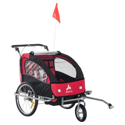 Aosom Elite II 2-In-1 Double Child Two-Wheel Bicycle Trailer, Stroller and Jogger with 2 Safety Harnesses - Red / Black