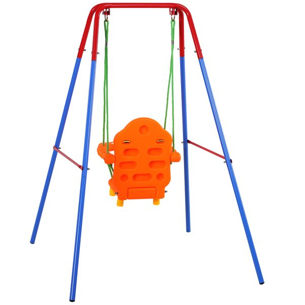 Qaba Kids Smiling Swing Set Steel Frame Hanging 1+ Years W/ Safety Guard Child | Aosom Canada