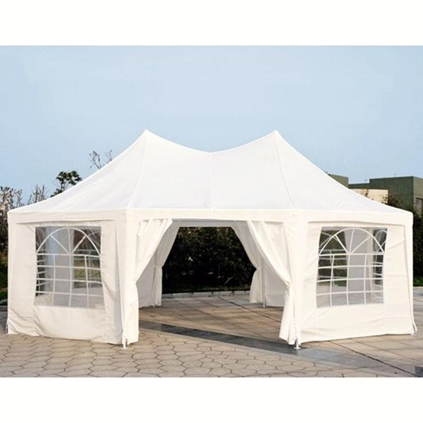 Outsunny 22x16ft Octagonal Party Tent Wedding Event Shelter Outdoor with 8 Removable Walls White  Aosom Canada