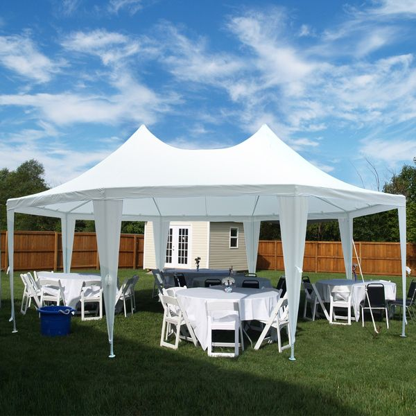 Outsunny Party Tent 22x16ft Octagonal Wedding Event Shelter Outdoor with 8 Removable Walls White |Aosom Canada
