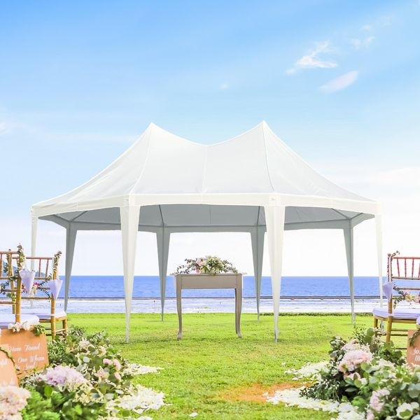 Outsunny Wedding Tent 22x16ft Octagonal Party Tent Event Shelter Outdoor with 8 Removable Walls White |Aosom Canada