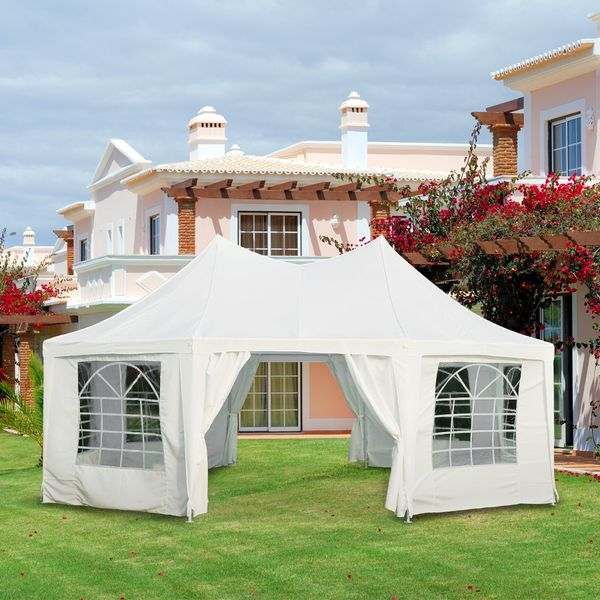 Outsunny Event Tent 22x16ft Octagonal Wedding Party Shelter Outdoor with 8 Removable Walls White |Aosom Canada