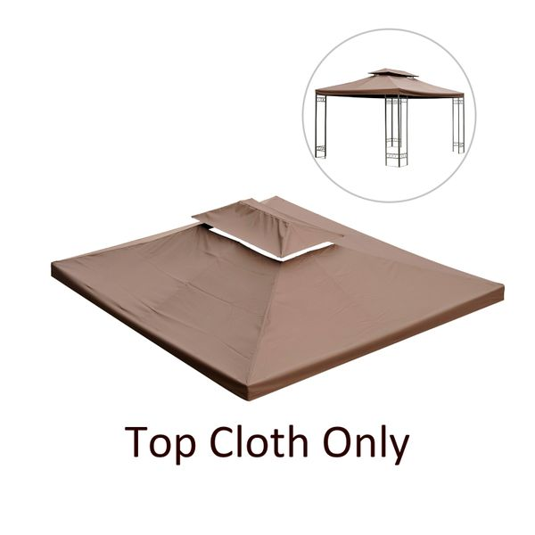 Outsunny Replacement Canopy Covers 10x13 Gazebo Top Canopy 2 Tier Water-resistant Waterproof UV Cover Pavilion Garden Protected Coffee|Aosom Canada