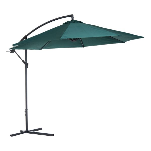 Outsunny Φ10' Deluxe Patio Umbrella Outdoor Market Banana Hanging Offset Sunshade Dark Green | Aosom Canada