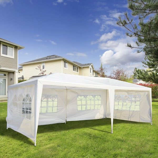 Outsunny 10x20ft Wedding Party Tent Gazebo Canopy Outdoor Event Sunshade Shelter w/ 4 Removable Window Side Walls White  Aosom Canada