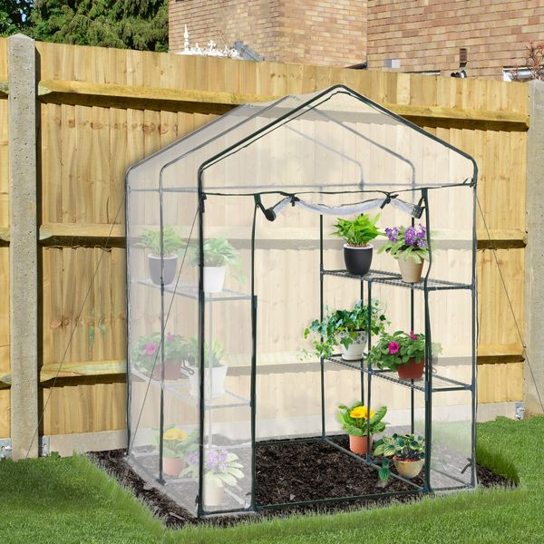 Outsunny 4.7'x4.7'x6.4' Portable Walk-in Flower Greenhouse Plants Warm Garden Transparent Green House