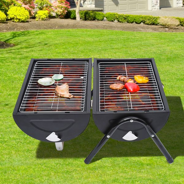 Outsunny Tabletop Portable Charcoal Grill Outdoor Folding Barbecue Grill BBQ Heat Smoker Grilling|Aosom.ca