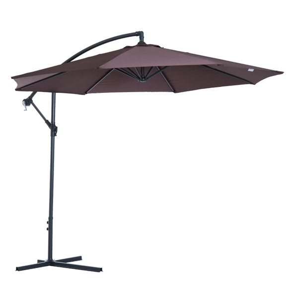 Outsunny Outdoor Patio Umbrella Φ10' Deluxe Market Parasol Banana Hanging Offset Sunshade Coffee | Aosom Canada