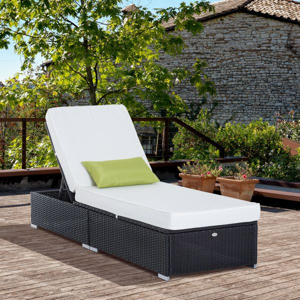 Outsunny Rattan Lounge Outdoor Sun Lounger Patio Wicker Bed Garden Recliner Chaise Sofa Furniture|Aosom.ca