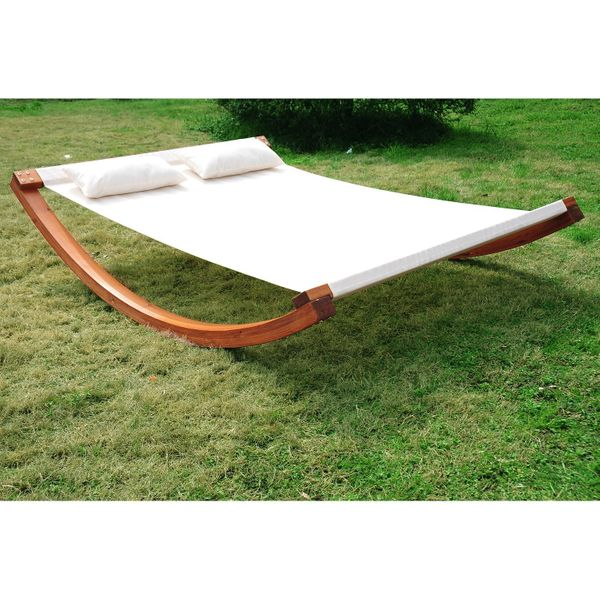 Outsunny Rocking Double Sun Lounger Hammock with Curved Wooden Stand Outdoor Yard Patio, White & Teak|Aosom.ca