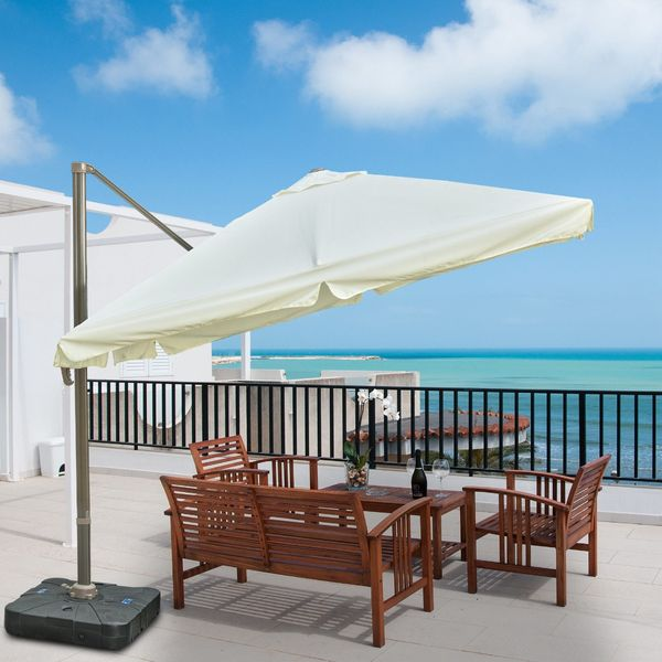 Outsunny 10 Foot Offset Umbrella Tilt Rotatable Adjustable Sunshade Base 10'x10'Square Garden Parasol Outdoor Sun Shade Canopy Cream White with Stand, 1x1ft White  Aosom Canada
