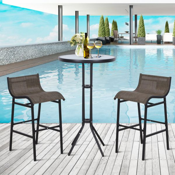 Outsunny 3pcs Outdoor Patio Pub Set Garden High Bistro Set 1 Table & 2 Bar Stool Dining Chat Set All Weather