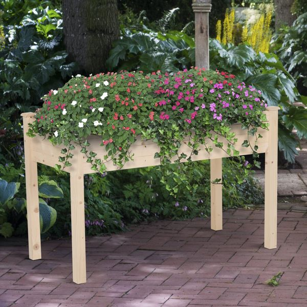 "Outsunny 48""x22""x30"" Patio Elevated Garden Bed Plant Stand Natural Plant Table Flower Bed 