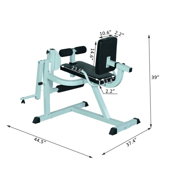 "Soozier Leg Curl Strength Muscles Exercise Bench 44.5"" Workout Fitness Home Gym Extension Seated Machine 