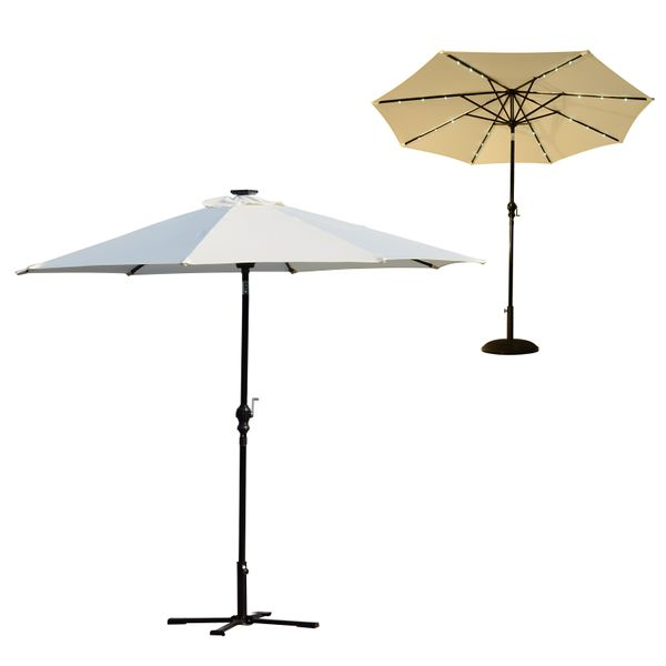 Outsunny 8x9ft Patio Solar Pool Parasol Outdoor Sunshade Garden Umbrella w/LED|Aosom.ca