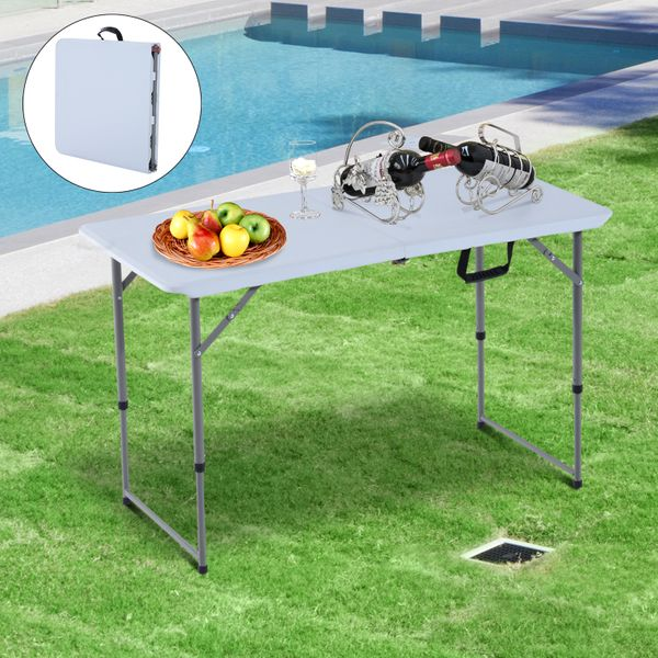 "Outsunny Folding Camping 47.2"" Picnic BBQ Party Table Outdoor Garden Adjustable