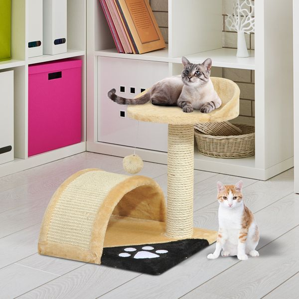 "PawHut 17"" Cat Scratching Tree Kitty House Kitten Activity Centre Pet Bed Post Furniture with Hanging Toy (Beige) 