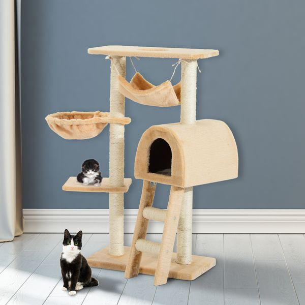 "PawHut 39"" Deluxe Cat Tree Tower House Scratching Post Kitten Condo Activity Center Play House Pet Scratcher Multi-level Kitty Furniture with Hammock 