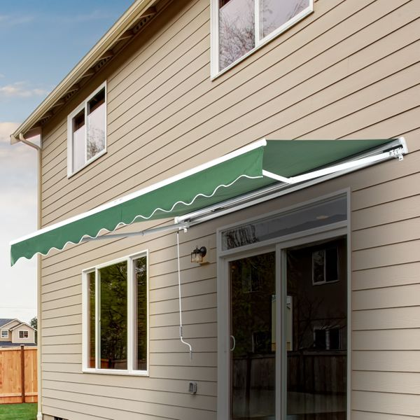 Outsunny Front Door Awning 10'x 8' Manual Retractable Waterproof Sun Shade Patio Awning Outdoor Deck Canopy Shelter Water-resistant Shelter Aluminum Frame Dark Green|Aosom Canada