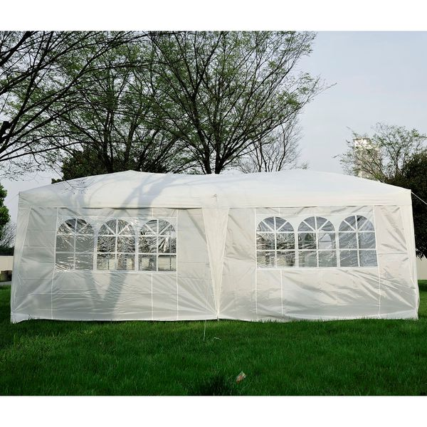 Outsunny 10'x20' Outdoor Folding Pop Up Party Tent Wedding Gazebo Canopy Patio Shelter with 6 Sidewalls, White|Aosom.ca
