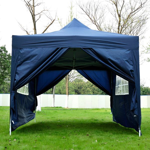 Outsunny 10'x15' Outdoor Pop Up Party Tent Folding Wedding Gazebo Canopy with 4 Removable Sidewalls (Blue) Aosom.ca