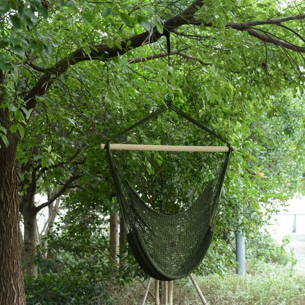 Outsunny Woven Hammock Chair Nylon Hanging Swing Outdoor Patio Air Sky Portable | Aosom Canada