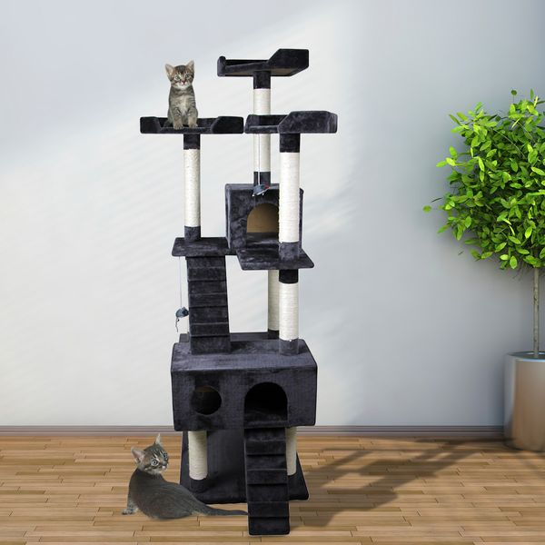 """Pawhut 91"""" Cat Tree with Scratching Post Activity Centre Tower Climbing Grey